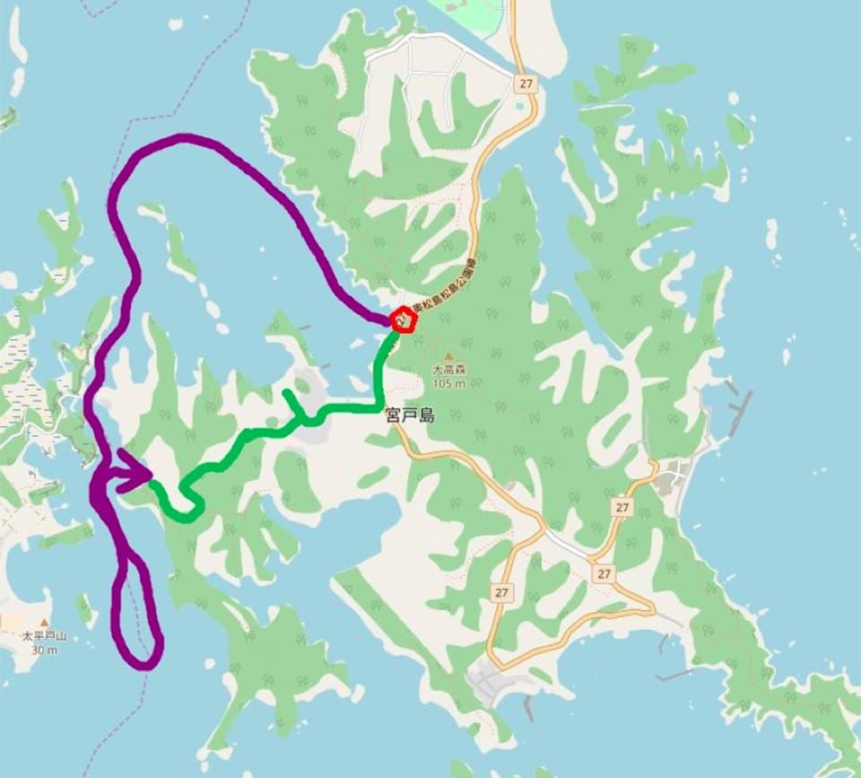 木島さんが考えたトレッキング&漁船コースのひとつ。紫色の線を隔てて左に見えるのが浦戸諸島の寒風沢島。
